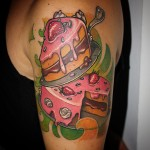 Tasty Cake New School Shoulder tattoo by Paolo Gnocchi