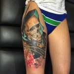 Thigh Hoody Necklace Skull tattoo by James Tex