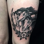 Three Dead Horses Thigh tattoo
