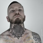 Triangles Dotwork Neck tattoo by Maxime Buchi