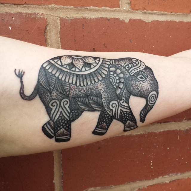Walking Elephant Dotwork tattoo by Niall Shannon