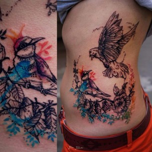 Watercolor Birds Back tattoo