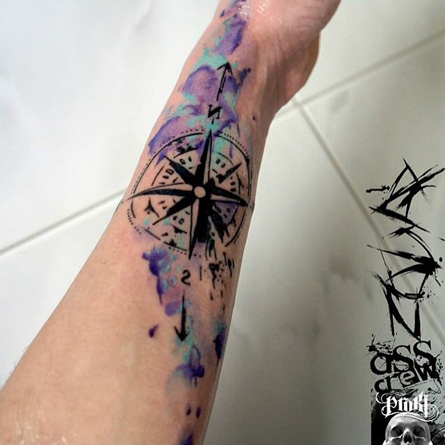 Watercolor Compass Mautical Arm tattoo