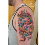 Watercolor Dragon Shoulder tattoo by Javi Wolf