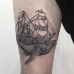 Whale Ship Graphic tattoo