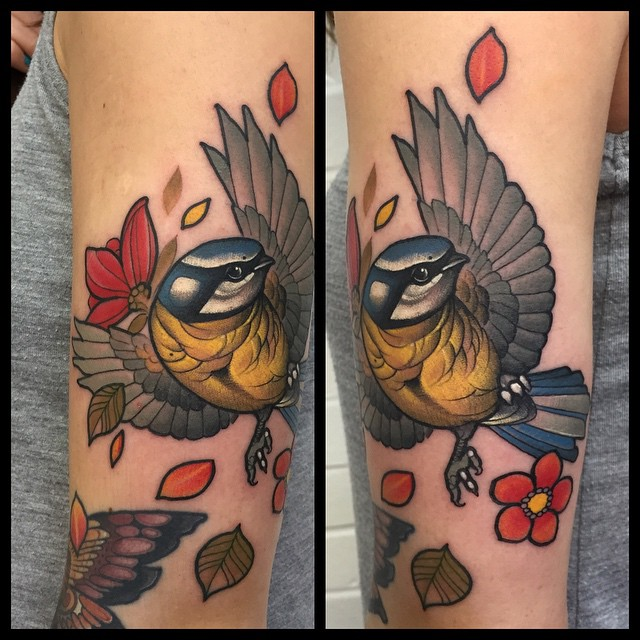 Wide Wings Titmouse tattoo by Mitchell Allenden