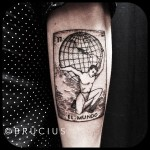 World on Shoulders El Mundo Atlas Dotwork tattoo by BRÜCIUS