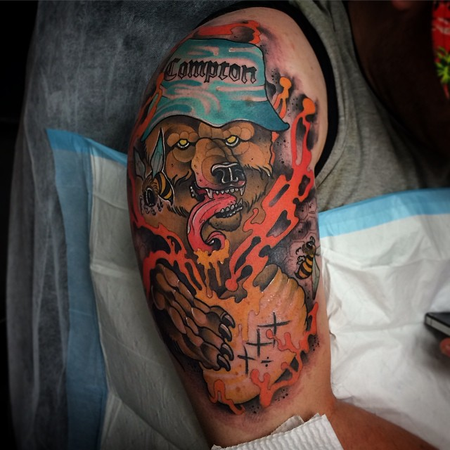 XXX Honey Compton Bear New School tattoo by Conor Wearn