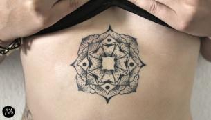 Belly Dotwork Mandala tattoo via Qkila