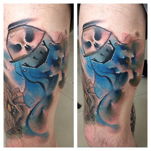 Airy Jellyfish Skull tattoo on Leg