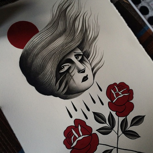 Crossed Roses Crying Girl Graphic tattoo by Danielle Rose