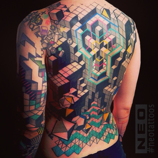 Full Back Tetris tattoo