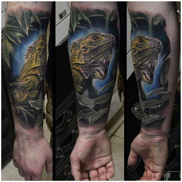Night Realistic Chameleon on Arm