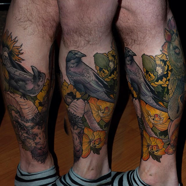 Prey Crow tattoo on Leg