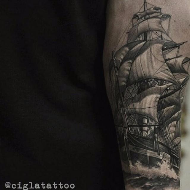 Ship Sailing in the Sea Realistic tattoo