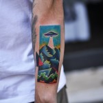 Above the Mountains UFO tattoo