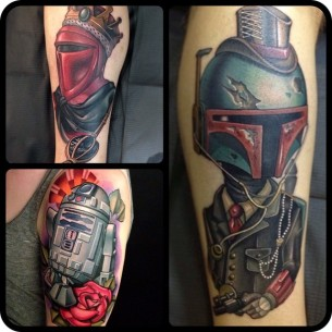 Amazing New School Star Wars tattoo