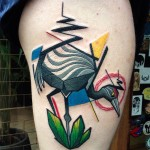 Angled Crane Hip tattoo