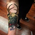 Antlers Pug tattoo