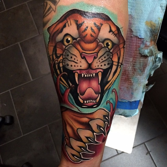 Attacking Tiger tattoo