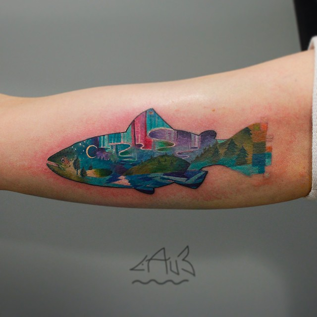 Aurora Fish tattoo on Arm