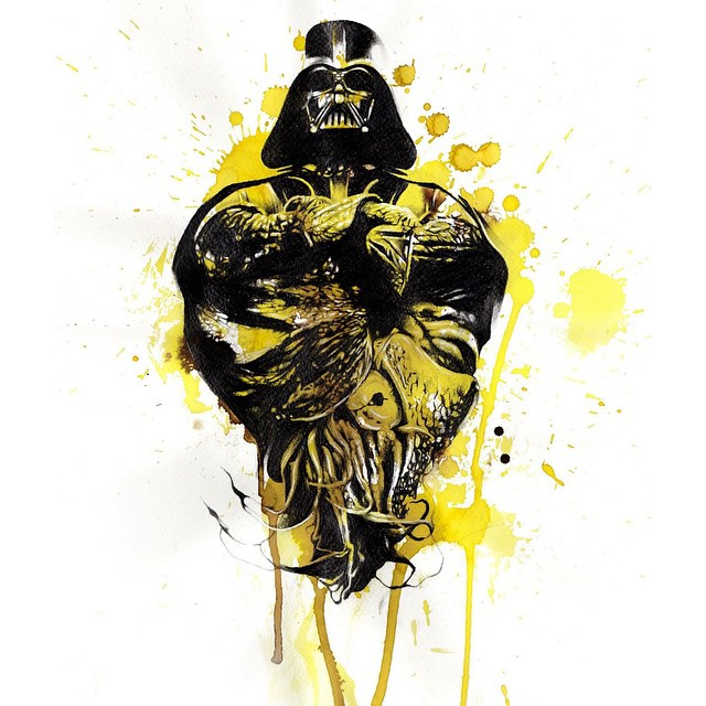Awesome Watercolor Darth Vader tattoo design
