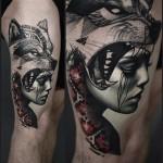 Beautiful Graphic Dotwork Wolf Girl
