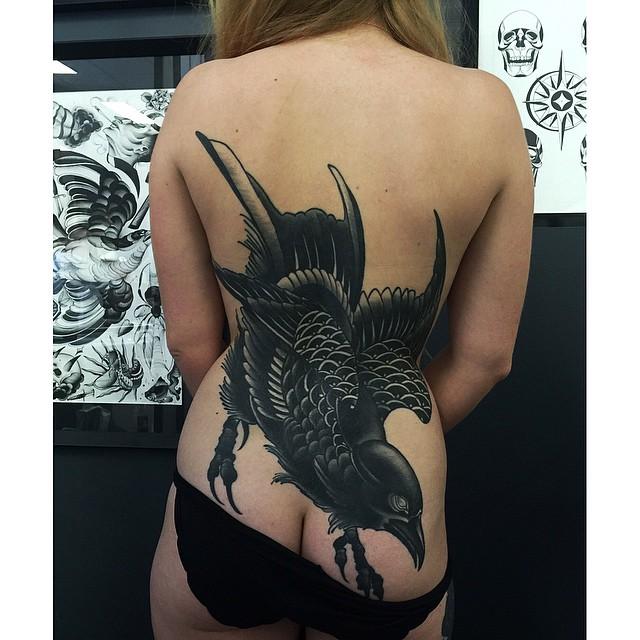 Black Blackwork Back tattoo