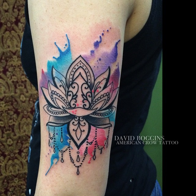Blackwork Lily Watercolor Tattoo On Arm Best Tattoo Ideas Gallery