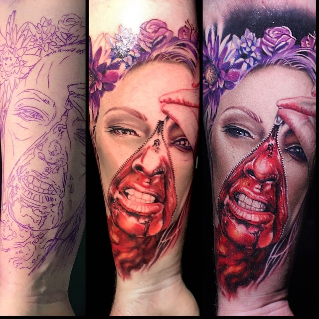 Blood Under Zipper Face Realistic tattoo