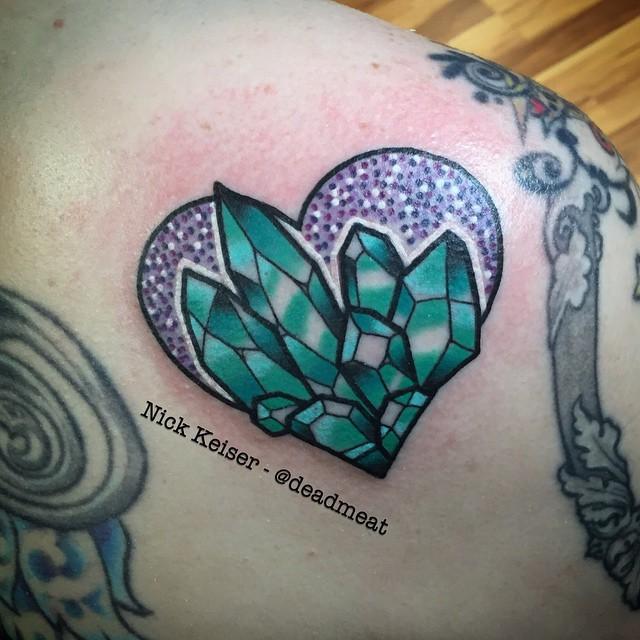 Blue Crystal hear tattoo