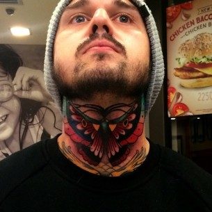 Butterfly on Neck tattoo by Chris Veness