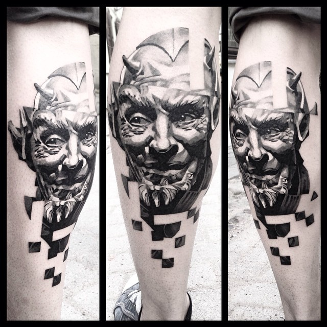 Calf Glitched Devil Tattoo Best Tattoo Ideas Gallery