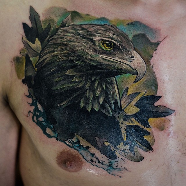 Chest Oak Eagle tattoo