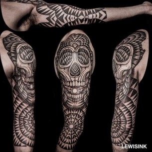 Circle Patterns Skull Tattoo Sleeve