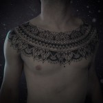 Collar Chest Dotwork tattoo