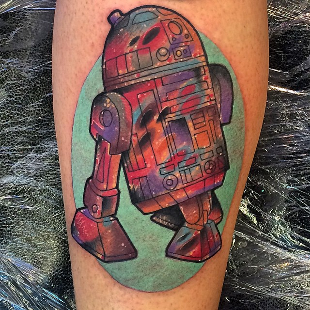 Colorful R2D2 tattoo