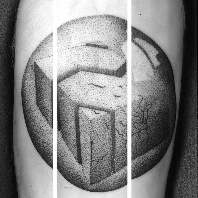 Cracked Cube Dotwork tattoo