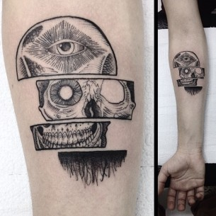 Cut in Pieces Skull tattoo