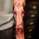Cute Eyes Pink Elephant tattoo on Arm