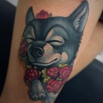 Cute delighted Dog Tattoo