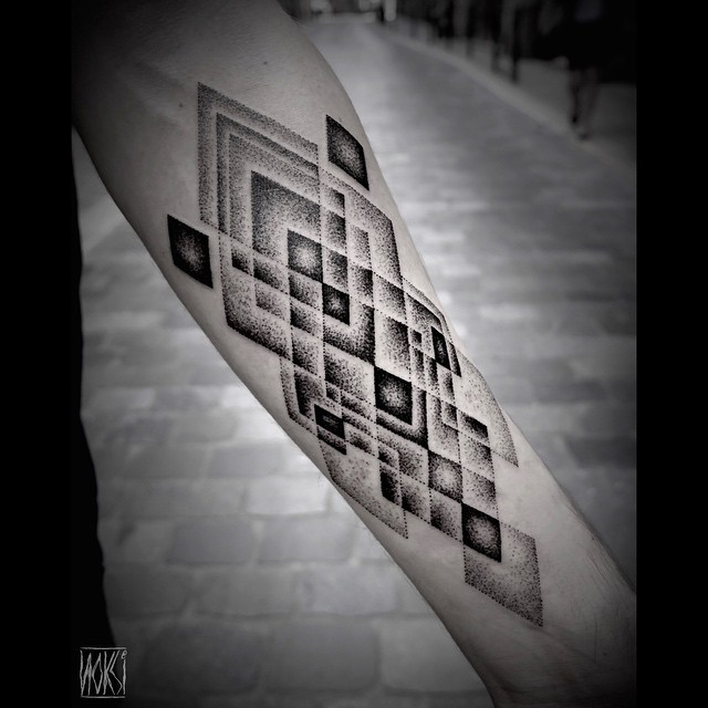 Dark and Grey Rhombus Arm Dotwork tattoo