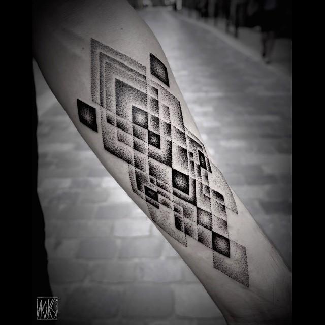 Dark and Grey Rhombus Arm Dotwork tattoo