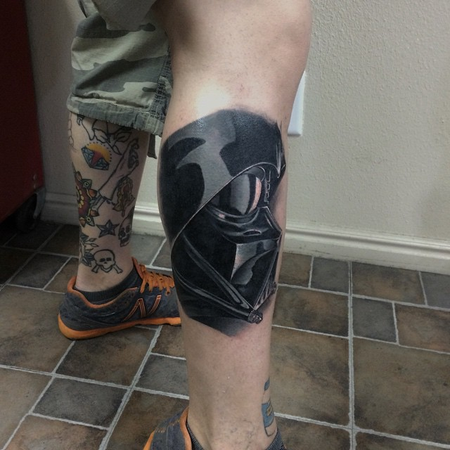 Darth Vader Leg Cover Up tattoo