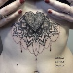 Dotwork Baroque Heart on Ribs