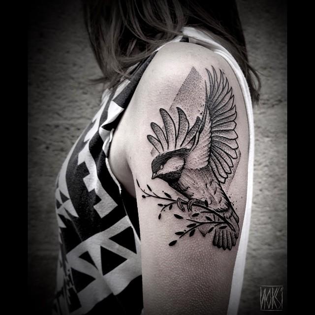 Dotwork Brunch Holding Sparrow tattoo