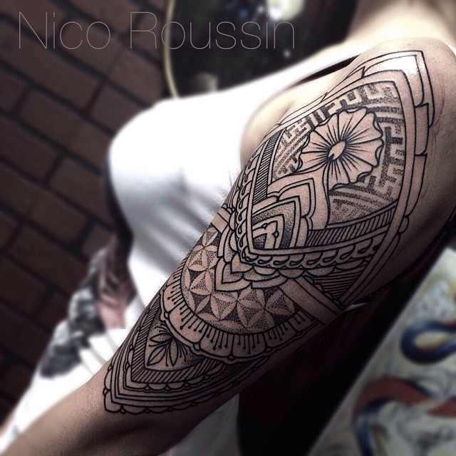 Dotwork Mehendi Shoulder tattoo