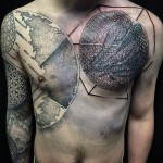 Dotwork Planets Space tattoo on Chest