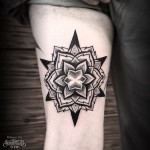 Dotwork Star Flower Thigh tattoo
