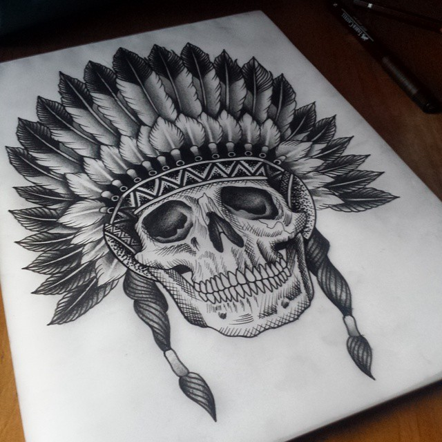 Etching Skull Indian tattoo